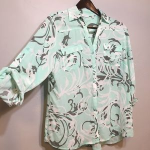 New York & Company Button Up Roll Sleeve Top